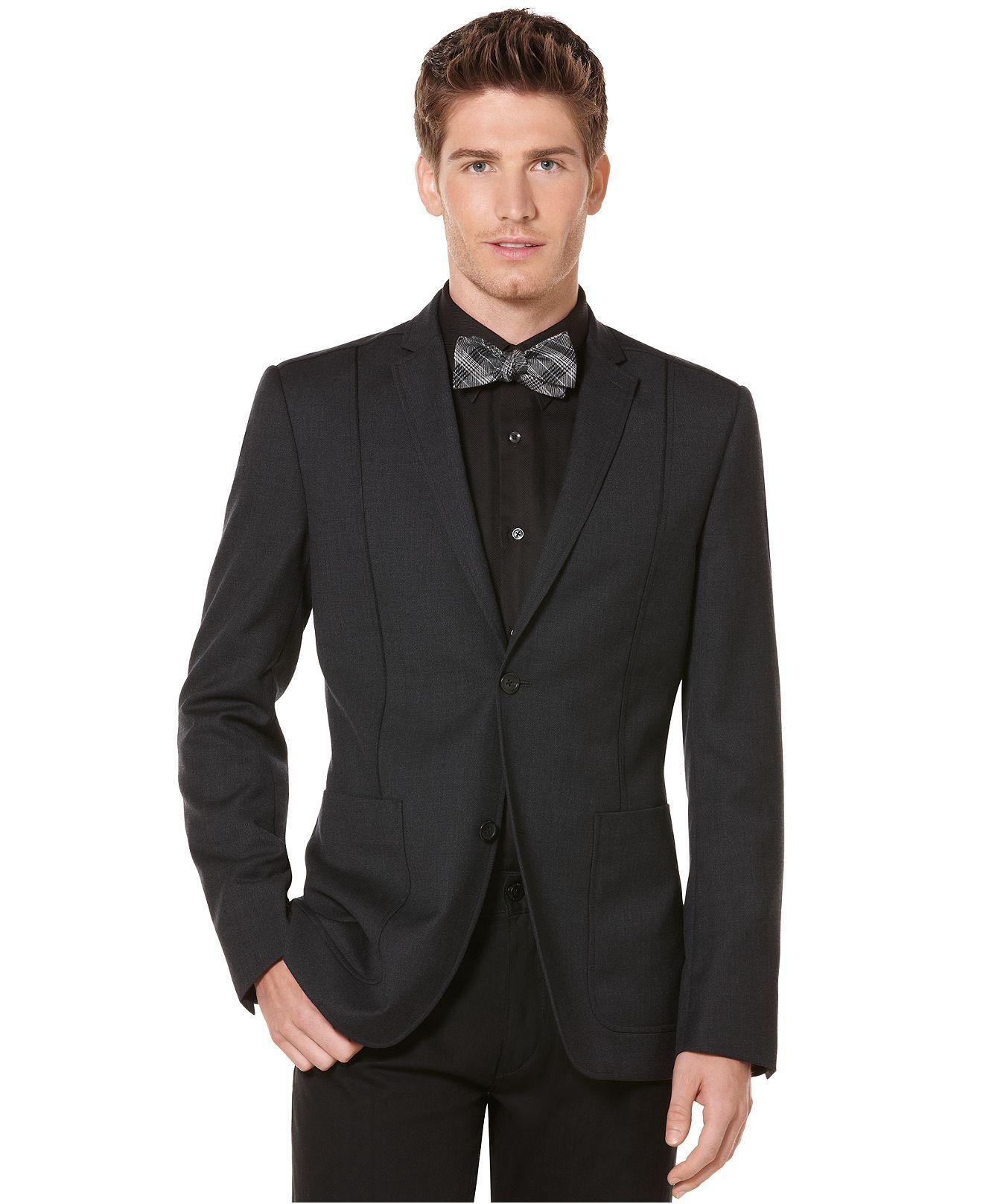 Perry Ellis Blazer, Slim Fit Flannel Sportcoat Mens