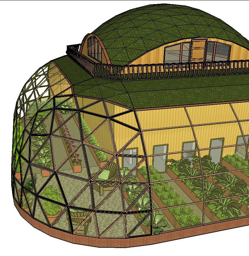 Dome House Futuristic: Semi Geodesic Dome House With Green Roof And Wrap Around