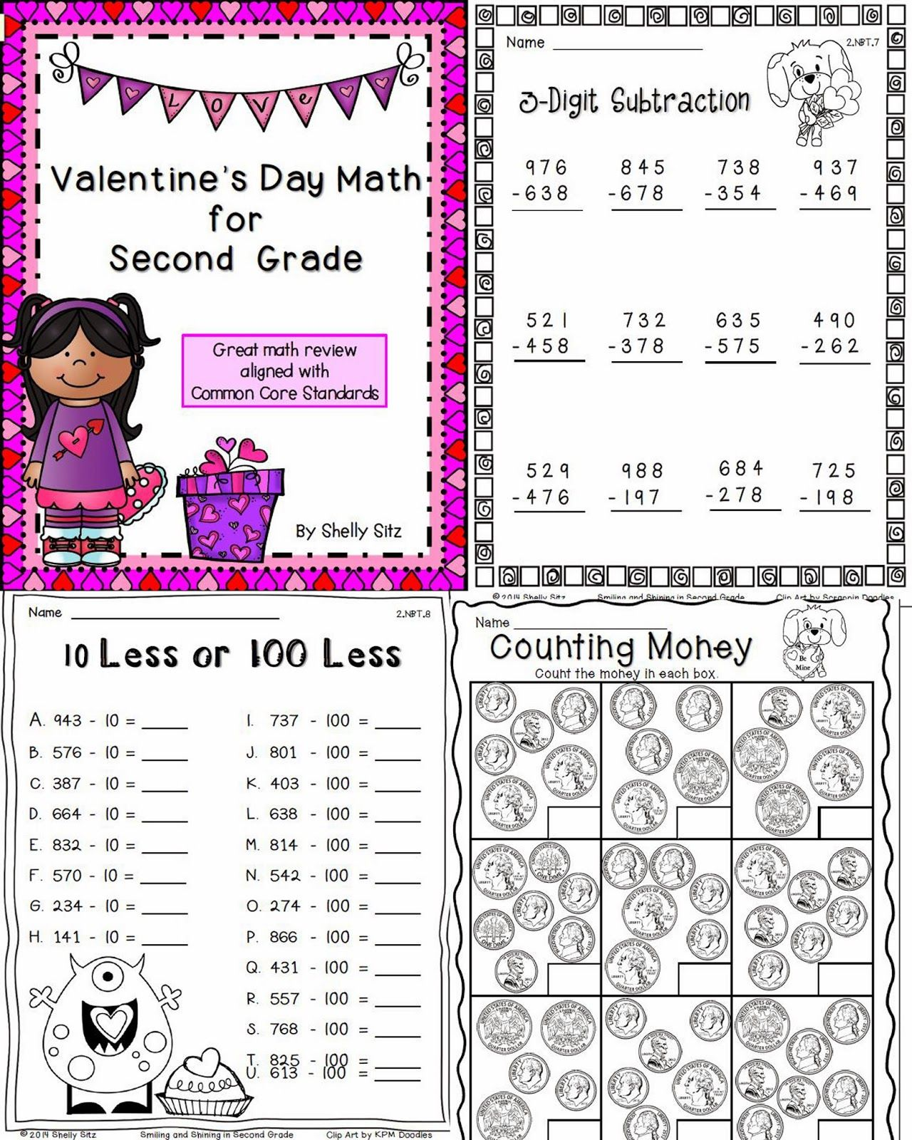 smiling and shining in second grade valentine 39 s math for second grade math second grade. Black Bedroom Furniture Sets. Home Design Ideas
