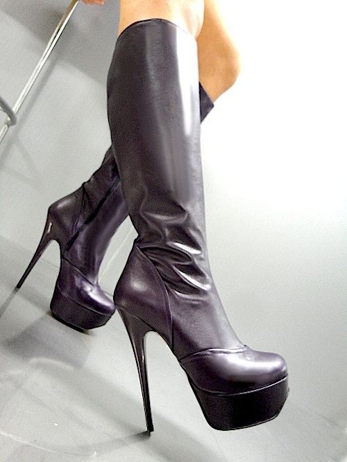 MORI ITALY PLATFORM HEELS KNEE HIGH BOOTS STIEFEL STIEFEL LEATHER ROT 37