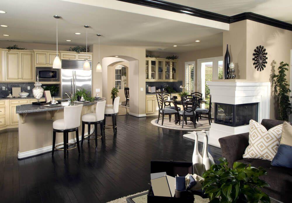 Panoramic Shot Of Open Living Area Including Corner Kitchen Entrancing Open Living Kitchen Design 2018