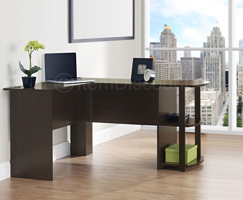 Cherry L Shaped Corner Desk Computer Home Office Secretary Workstation Table  #Contemporary