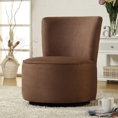 Attirant Round Microfiber Swivel Accent Chair   Brown