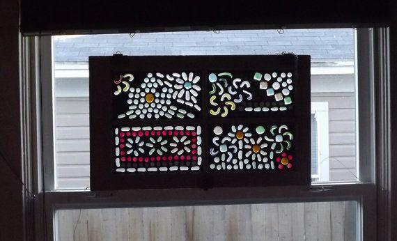 Mosaic Window/Window Decor/Flower Window by PiecesofhomeMosaics, $175.00