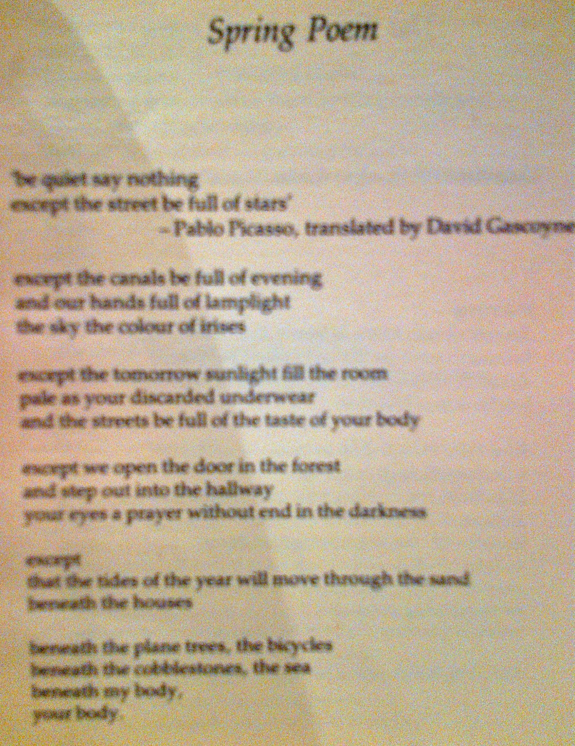 Spring Poem By Adrian Henri One Of My All Time Favourite