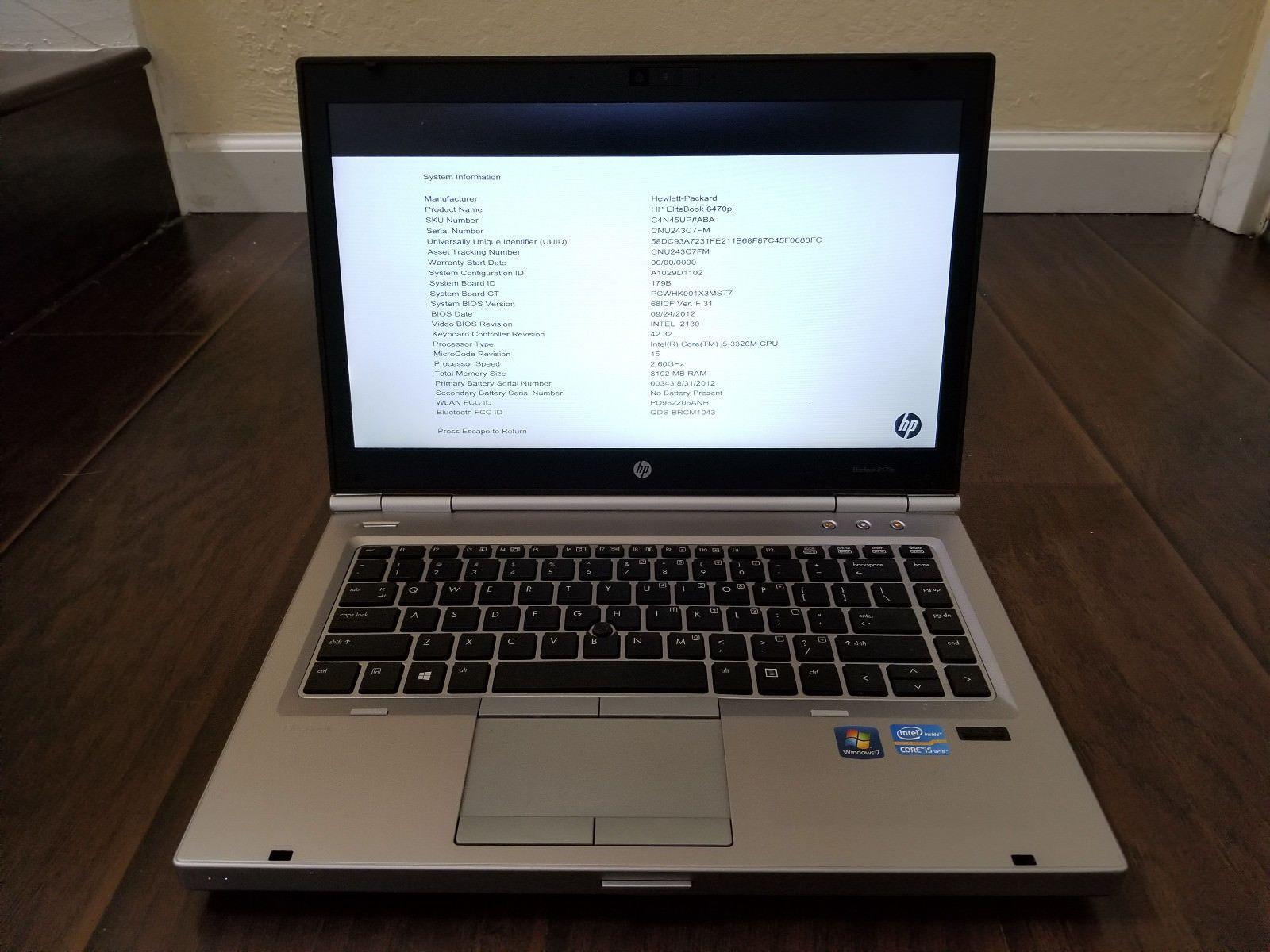 HP EliteBook 8470p Laptop Intel Core i5 3rd Gen 2 60GHz 8GB