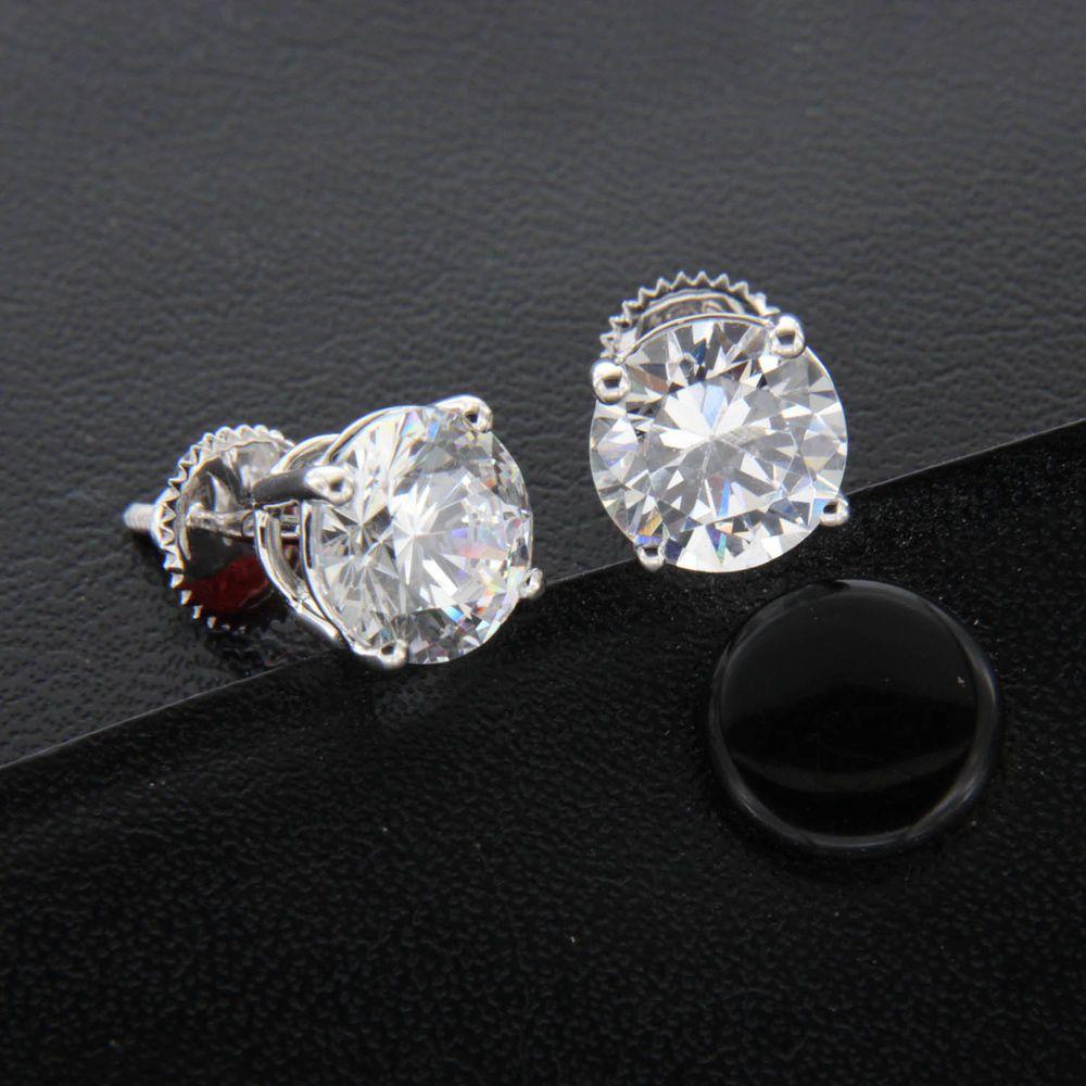 14k White Gold Over 3 Ct Round Cut D//VVS1 Black Diamond Clip-On Dangle Earring