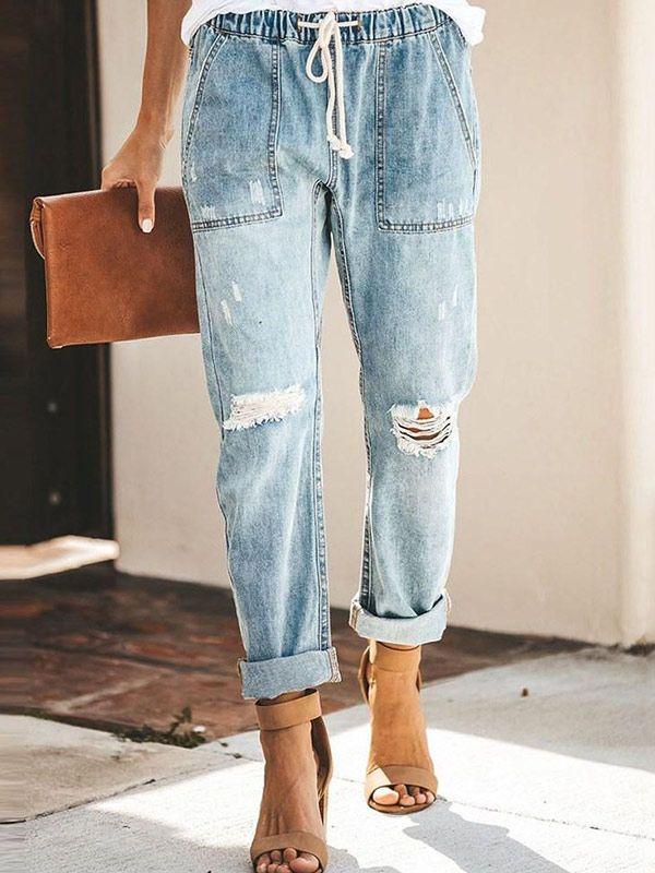 Straight Plain Pocket Mid Waist Slim Jeans 1