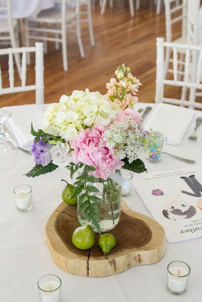 Mason jar and wood slice centerpieces wedding ideas