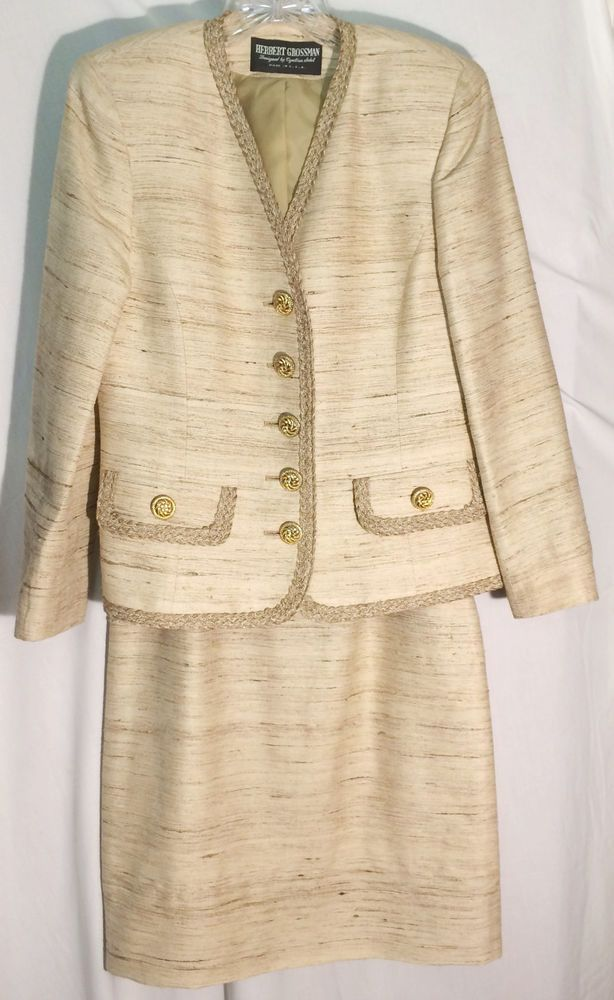 HERBERT GROSSMAN - NEIMAN MARCUS Tan 100% Silk Skirt Suit - Braid Trim - 6 #HerbertGrossmanforNeimanMarcus #SkirtSuit #herbert #grossman #neiman #marcus #tan #silk #skirt #suit #jacket #6