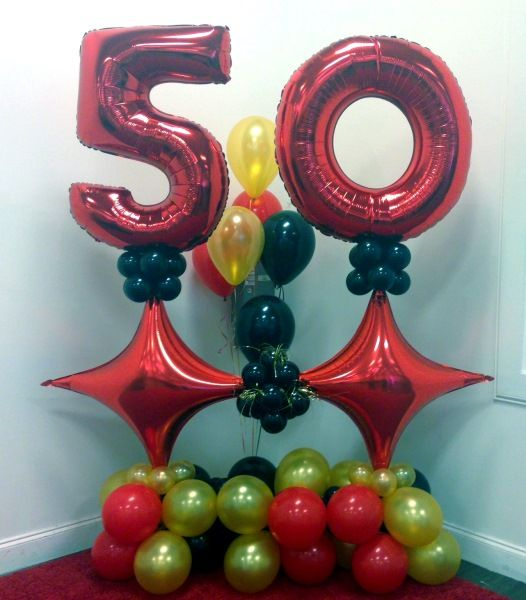 Black Gold Red 50th Birthday Balloon Wall 50th Birthday