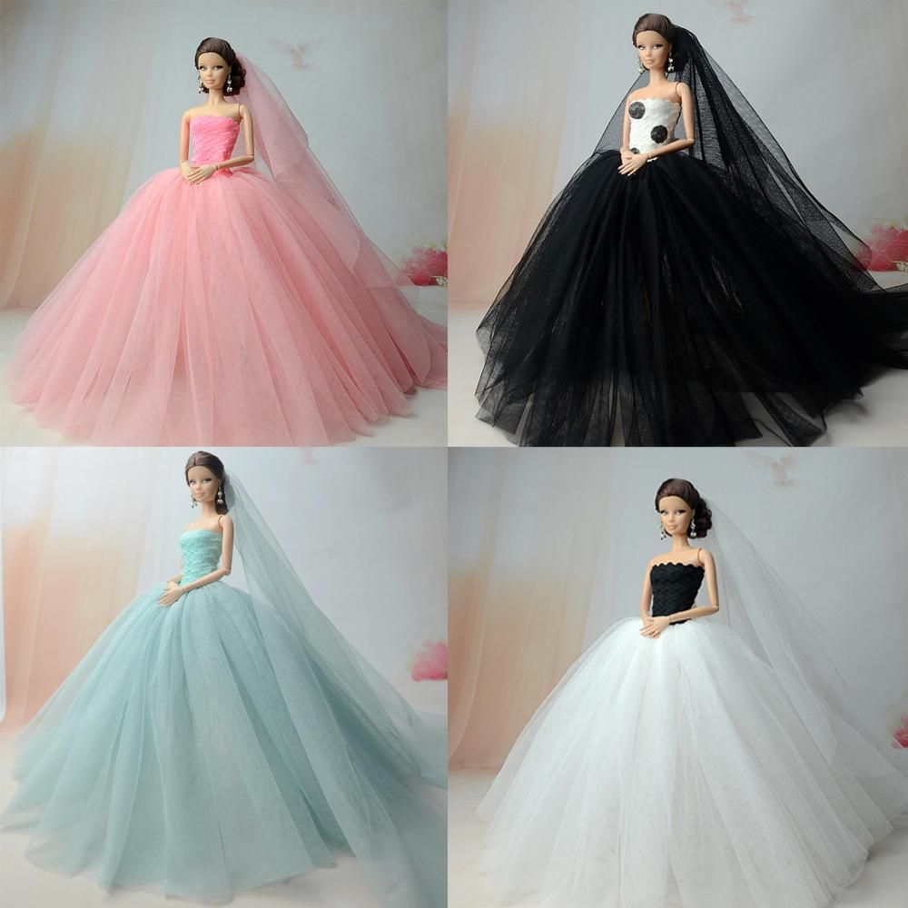 High Quality Handmade Long Evening Gown Lace Wedding Doll Dress for Barbie Doll