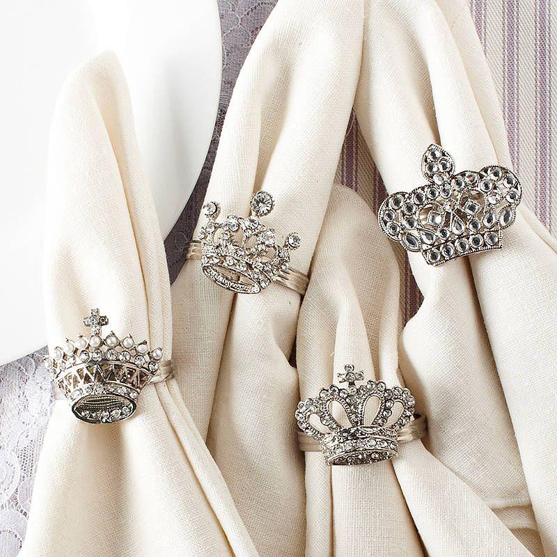 Set Of Four Crown And Tiara Napkin Rings DIY Jewelry