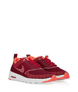 """Rendered in rich red jacquard, the Nike Air Max """"Thea"""" features super lightweight cushioning and a sleek, comfortable low-cut upper #Stylebop"""