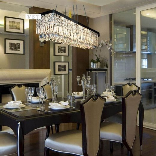 Glass Chandeliers For Dining Room: Modern Rectangle Dining Room Chandeliers