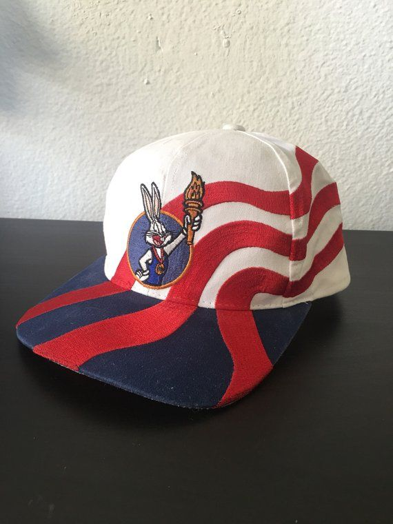 c4ae62189f939 Vintage 90s Bugs Bunny USA Olympics Snapback Hat Cap by Starter Looney Tunes