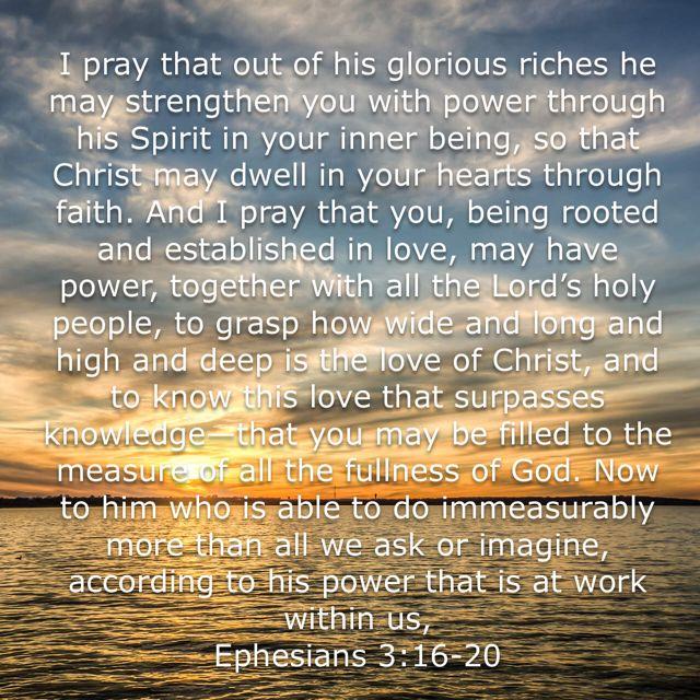 Ephesians 3:16-20, New International Version (NIV) | Ephesians, Biblical verses, Encouragement quotes