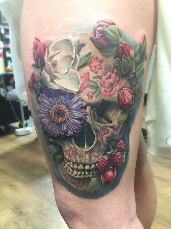 David Benjamin Kaye Floral Skull Tattoos Skull Tattoo Flowers Skull Tattoo