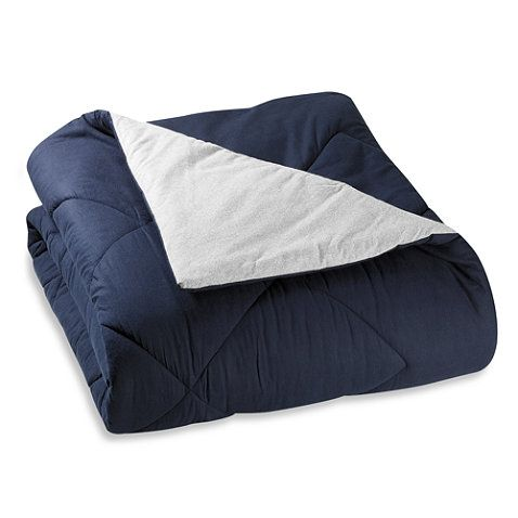 The Seasons Collection® Reversible Flannel Comforter in Navy/Gray - BedBathandBeyond.com