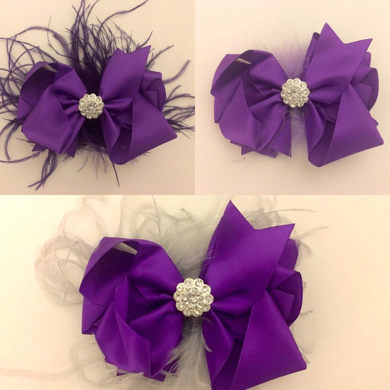 purple hair bow, silver hair bow,mint feather bow, ivory