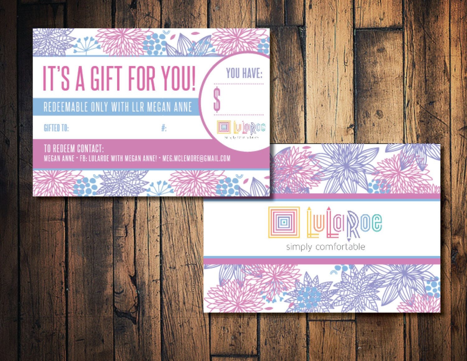 Floral LulaRoe Gift Card, LulaRoe Gift Certificate Card, LulaRoe Marketing  Card By TheWrightInvite On
