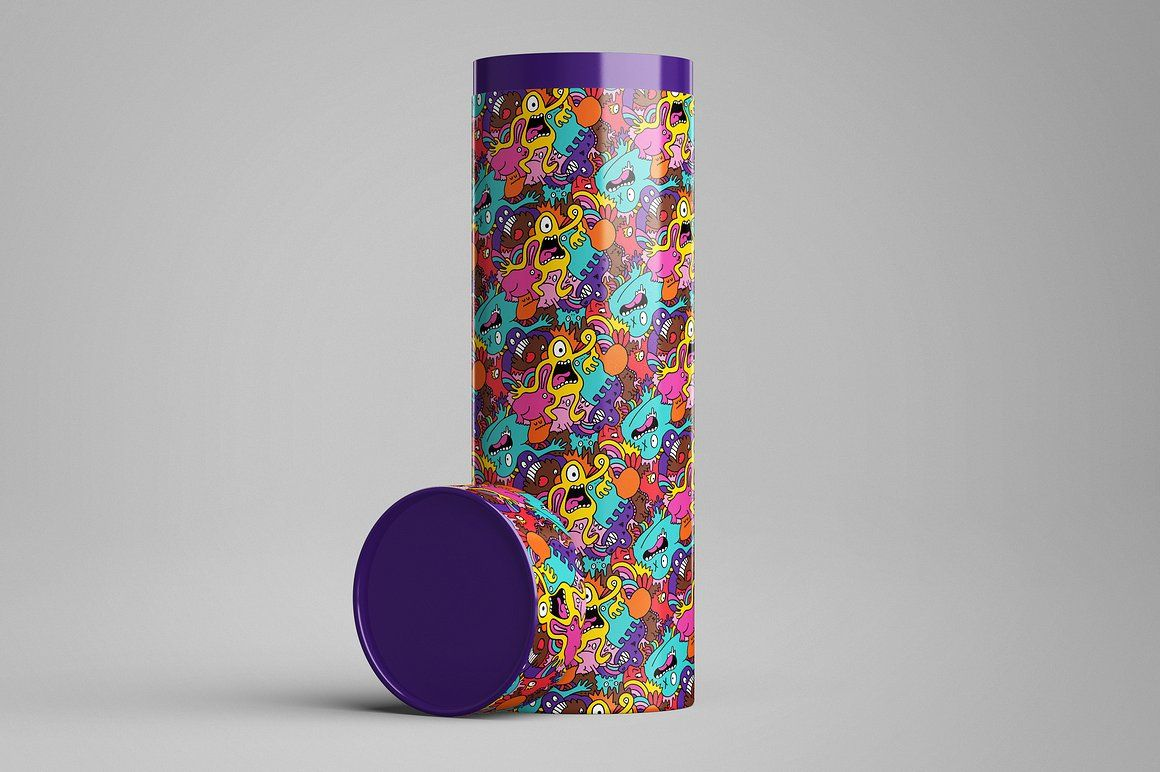 Long Tube / Can Packaging MockUp Colorful backgrounds
