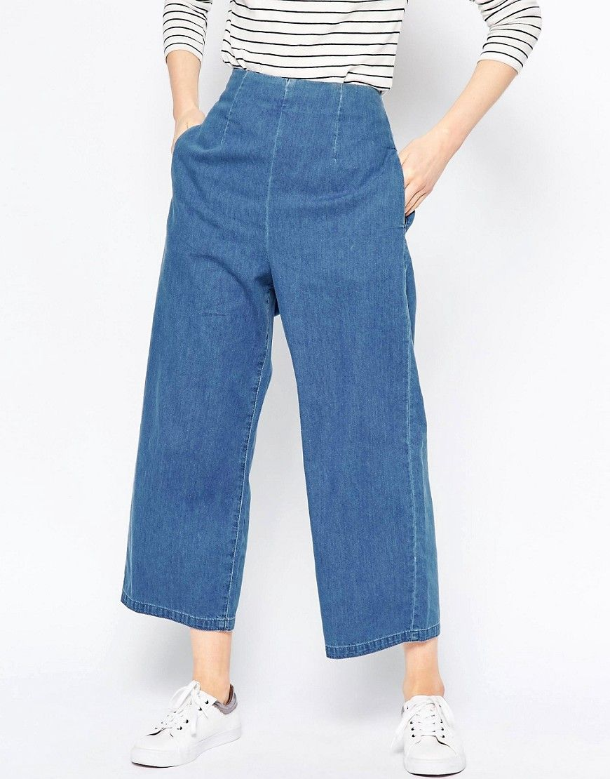 Image 1 of ASOS Soft Wide Leg Jean With Zip Back In Light Stonewash
