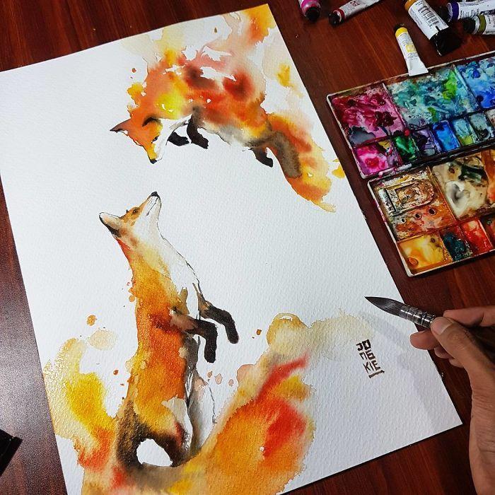 I Create Animal Spirits Trough Watercolor Aquarelle De Renard