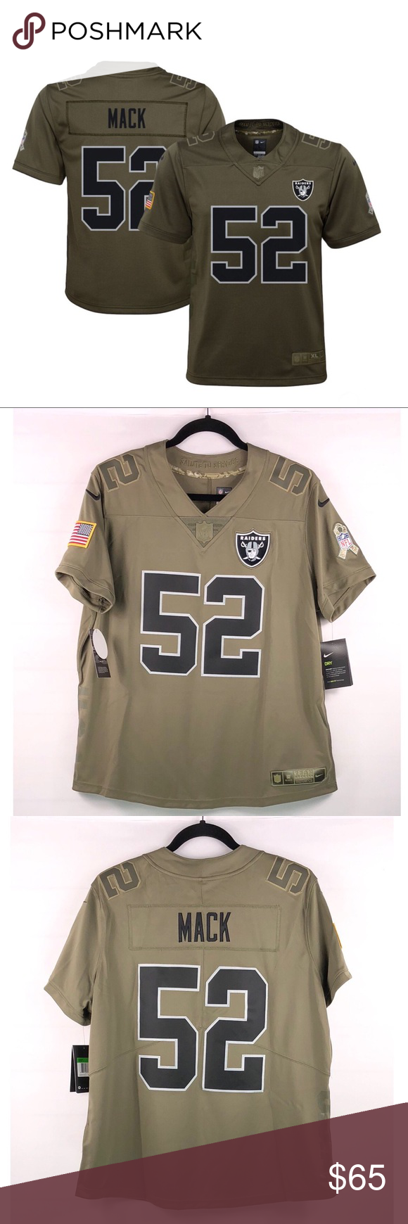 Nike NFL Raiders Jersey Khalil Mack  52 Nike NFL Raiders Womens Sz XL  Limited Salute to Service Khalil Mack  52 NWT Actual Measurements  are  aimed to help ... 2f557a9bd