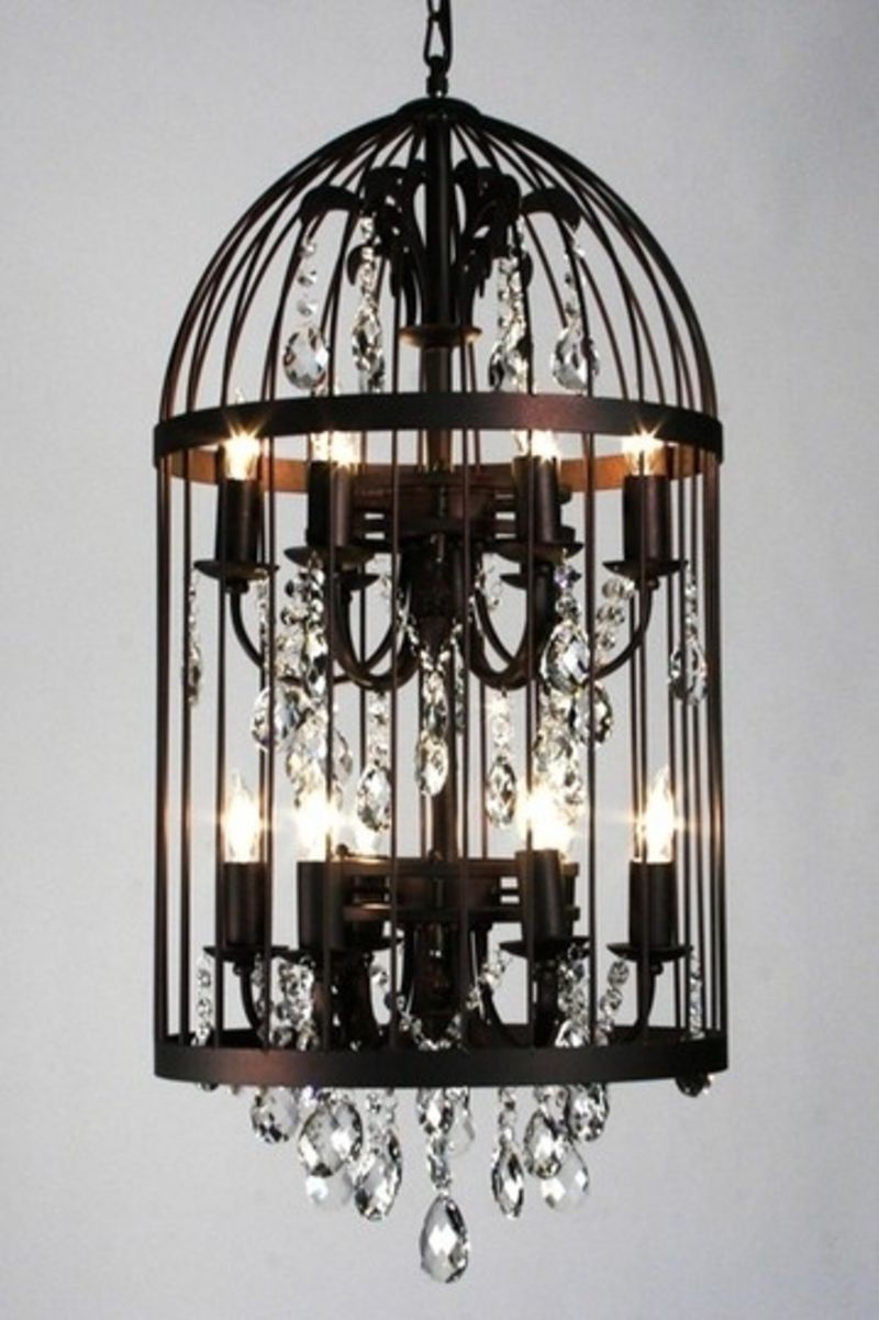27 Alternative Uses For Bird Cages That You Will Fall In Love With Birdcage Chandelier Vintage Crystal Chandelier Metal Lighting