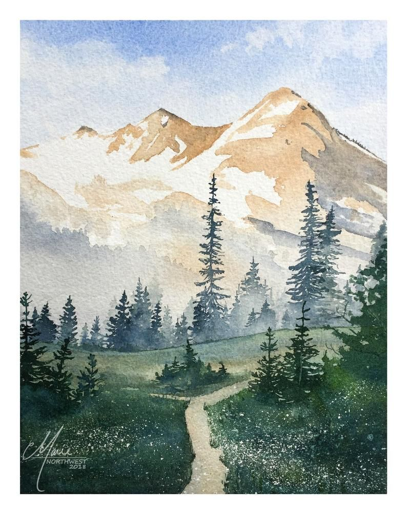 Mt Rainier Ete Aquarelle 8 X 10 Edition Limitee Giclees En