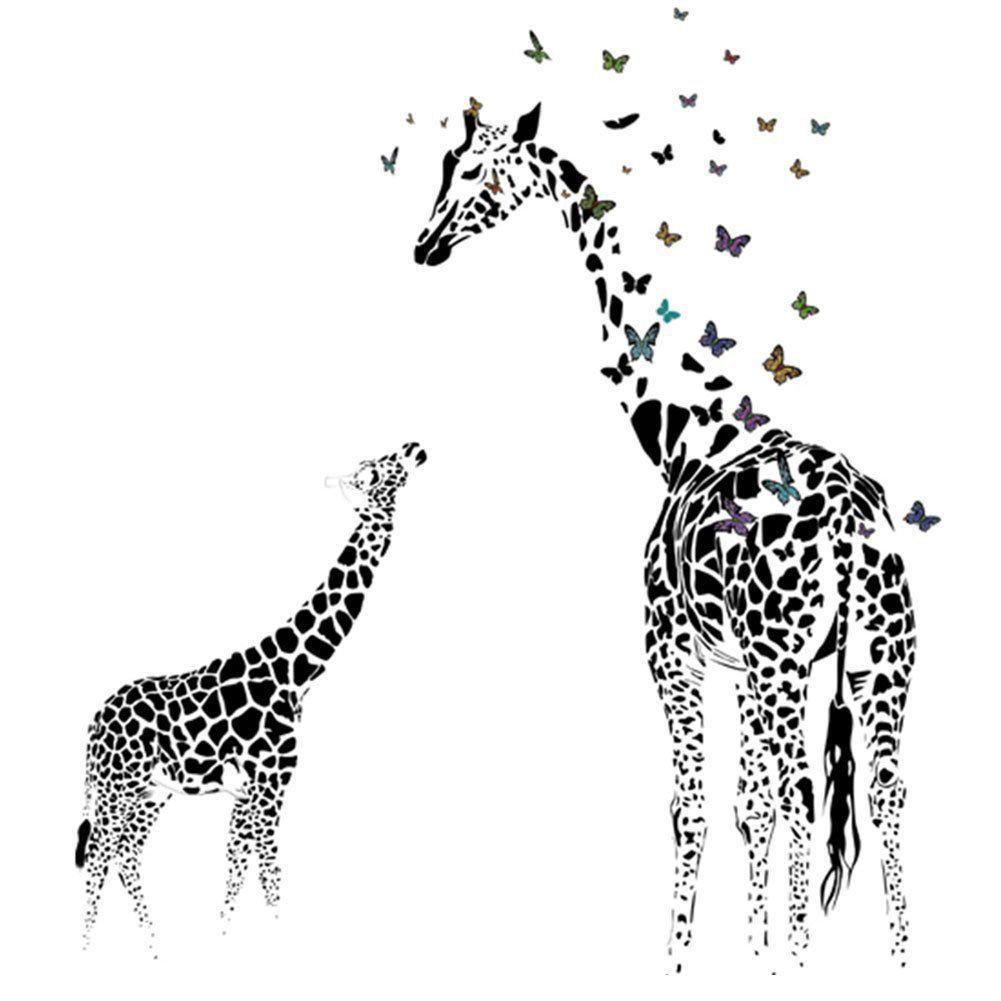 Giraffe Butterfly Wall Sticker for Living Room Decor Woman