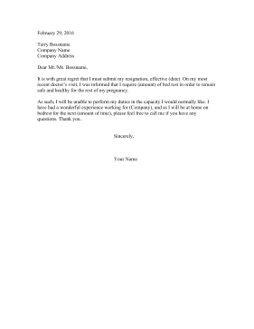 Resignation Letter For Pregnant from i.pinimg.com