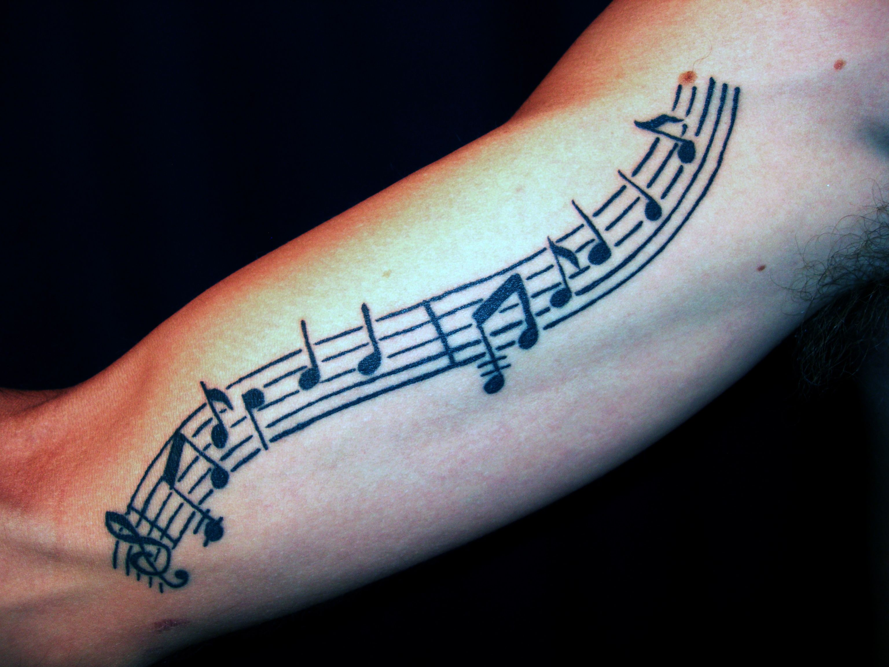 sheet music tattoo arm images galleries with a bite. Black Bedroom Furniture Sets. Home Design Ideas