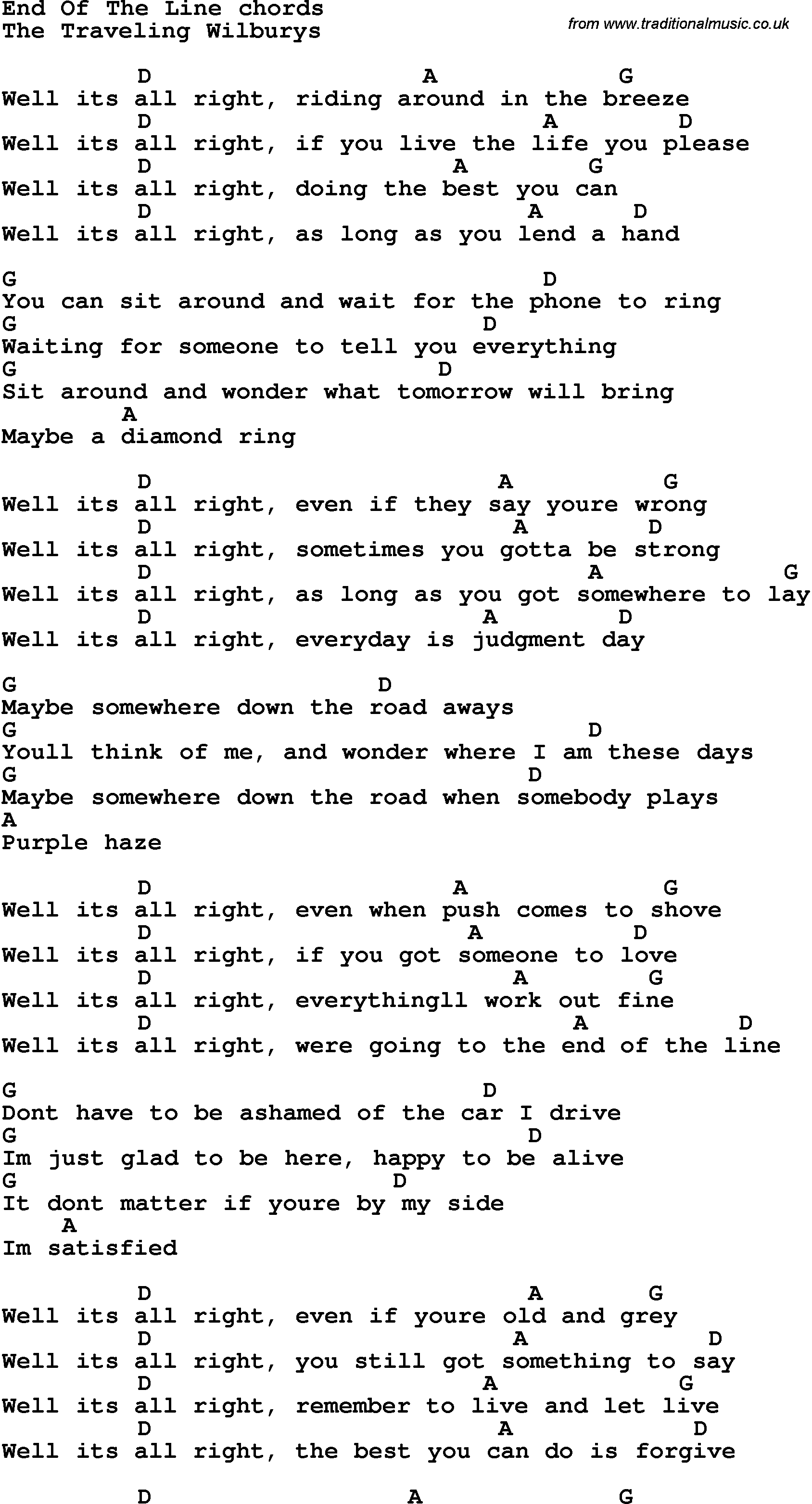 Song Lyrics With Guitar Chords For End Of The Line Sheet Music