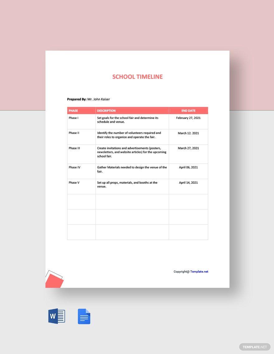 Simple School Timeline Template Free Google Docs Word Template Net Make A Timeline Word Template Project Proposal Template Timeline template for google docs