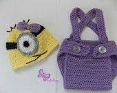$19.49 baby girl costume-BabyGirl Clothes Minion purple crochet outfit-hat,diaper-Baby girl Crochet Despicable Me Outfit-newborn Halloween costume