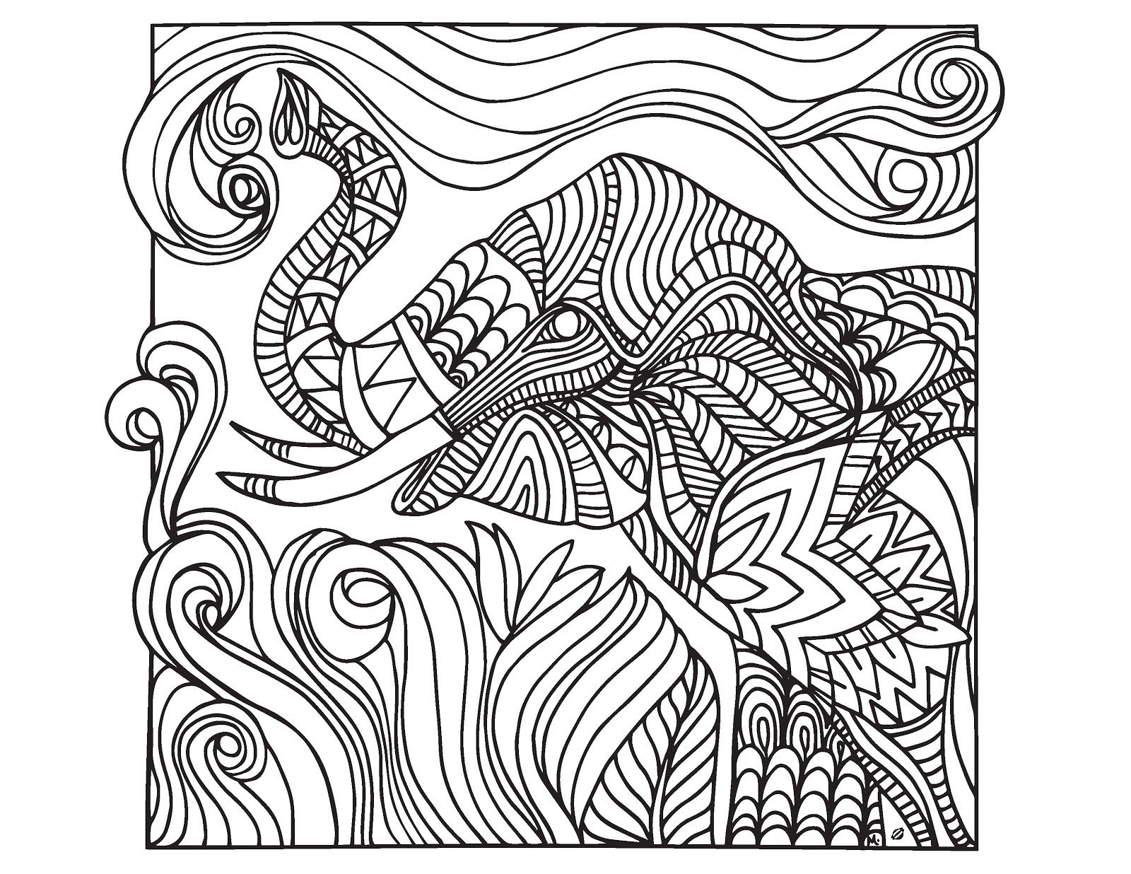 Complicated Elephant Coloring Pages. Difficult Abstract Elephant Coloring Pages for Adults  Tone LostBumblebee 2015 MDBN Grown Up Colouring Sheets