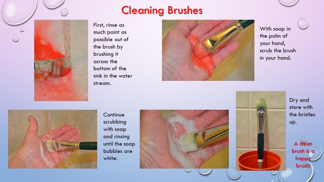 A poster with instructions for cleaning out paintbrushes