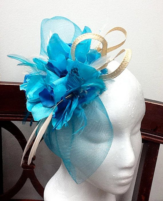 c0f506164b3d3 Fascinator turquoise peacock blue fascinator by FascinatorsFirst ...