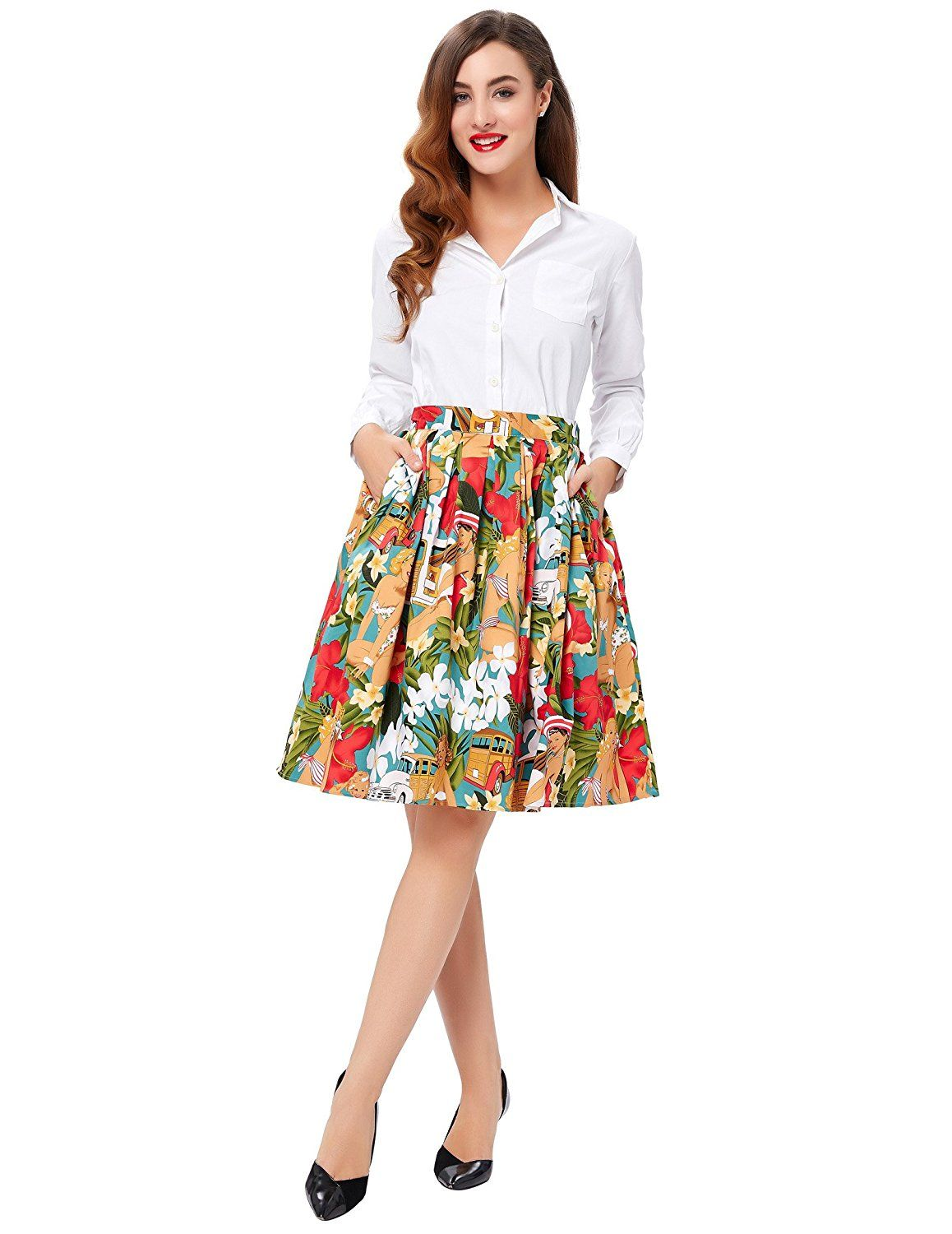 44d2d5df0e GRACE KARIN A-Line Pleated Vintage Skirts for Women CL6294 (Multi-Colored)  at Amazon Women's Clothing store: