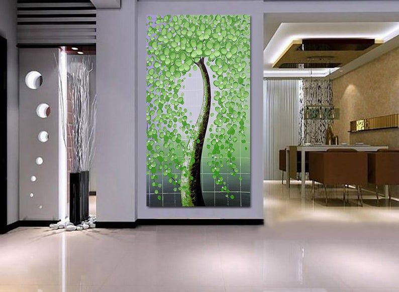 Pintados A Mano Pintura Del Arbol De La Flor De Luz Verde Para