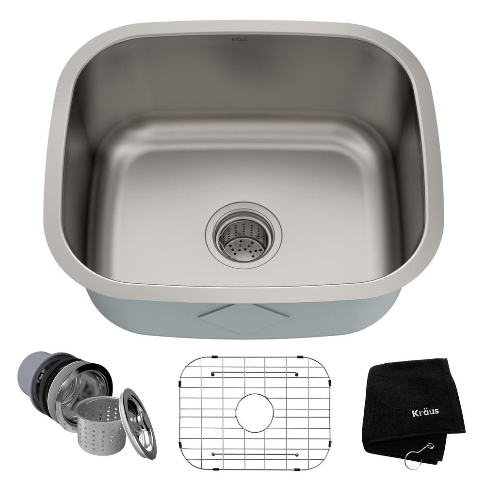 Kraus Premier Undermount Stainless Steel 20 In Single Bowl Kitchen Sink Kbu11 Sink Single Bowl Kitchen Sink Stainless Steel Kitchen