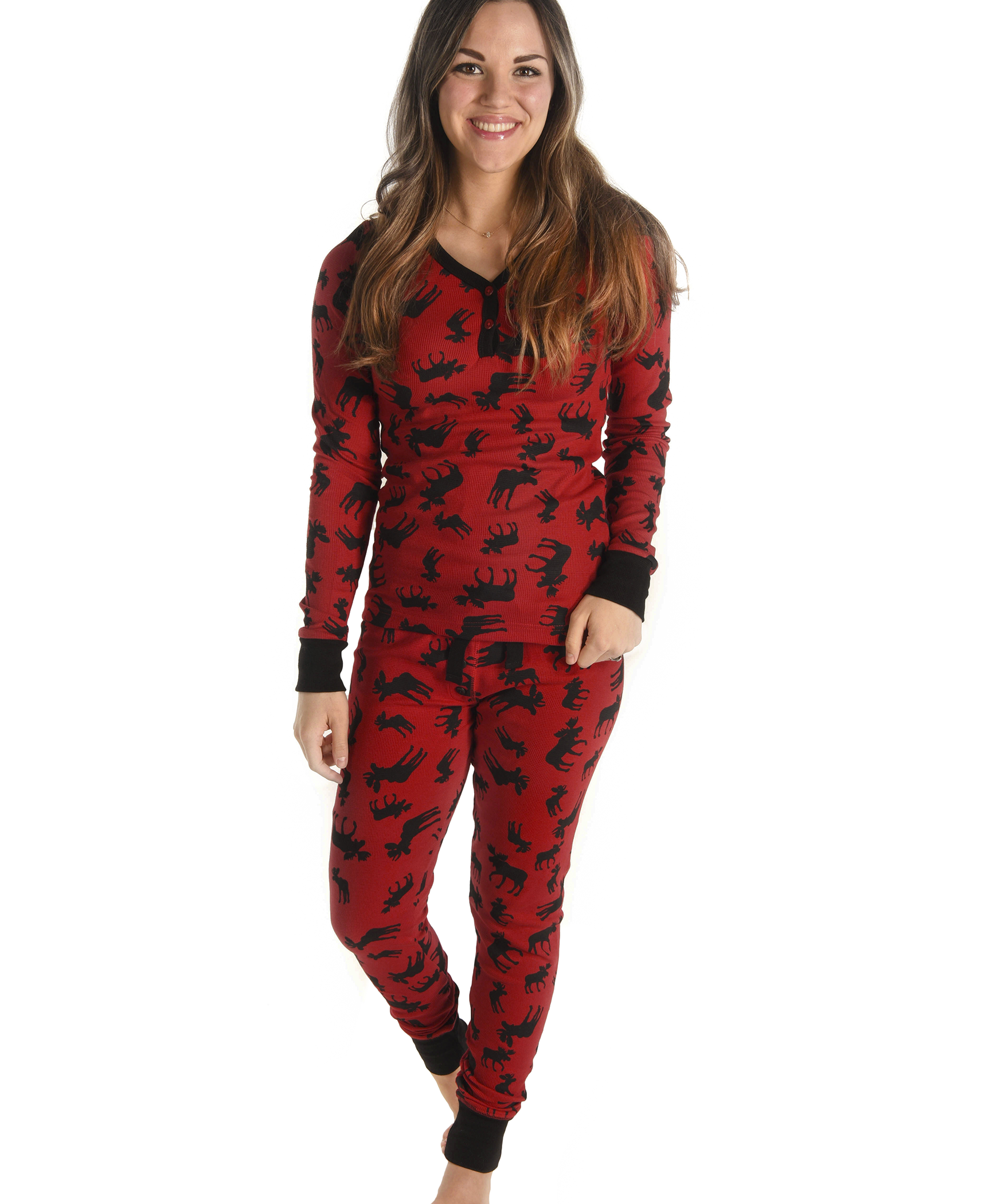 Classic Moose Women's Thermal Set Matching christmas