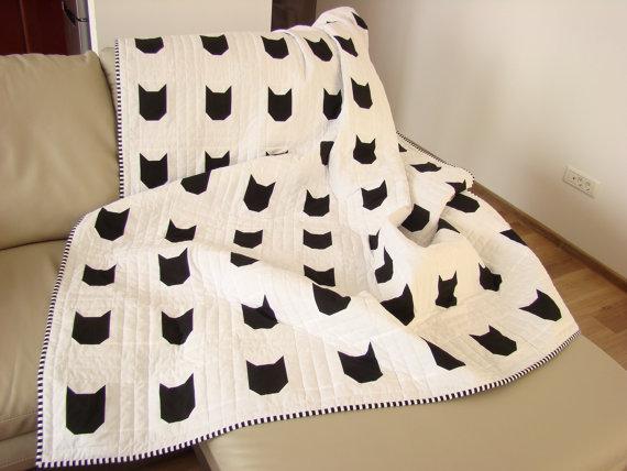 Modern Quilt Black White Quilt Custom Quilt Cat Quilt Twin Quilt Throw Quilt Bed Quilt Kid Quilt Child Bla Cat Quilt Pink Quilts Quilts For Sale Black and white quilts for sale