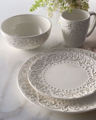 "Love the bas relief on these plates. kick it up with linens. 16-Piece ""Scroll"" Dinnerware Service at Neiman Marcus."