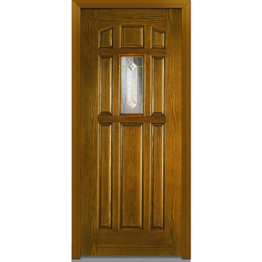 Milliken Millwork 36 In X 80 In Majestic Elegance Decorative Glass 1 4 Lite 8 Panel Finished Oak Fiberglass Prehung Fr Mmi Door Oak Exterior Doors Front Door