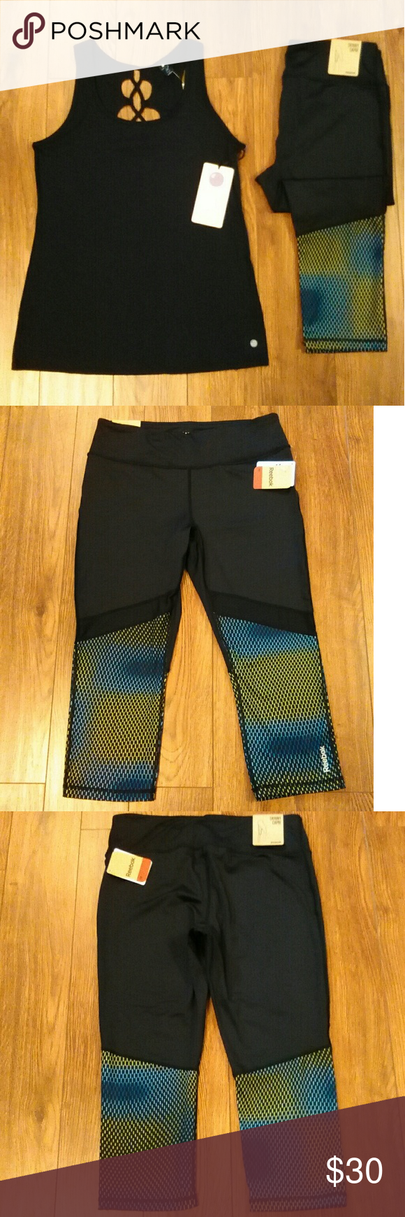 """NWT Reebok Skinny Athletic Capri Size L Reebok Skinny Athletic Work Out Capri Size L  Key Pocket  89% Polyester 12% Spandex  Aprox Measurements Taken Flat  Waist: 15"""" Rise: 9.5"""" Inseam: 20""""  Please Check Out My Other Items  #106  Top Sold Separately Reebok Pants Capris"""