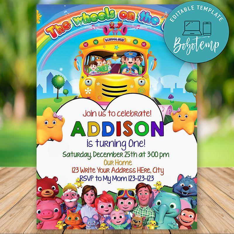 Editable Cocomelon The Wheel On The Bus Birthday Invitation Diy In