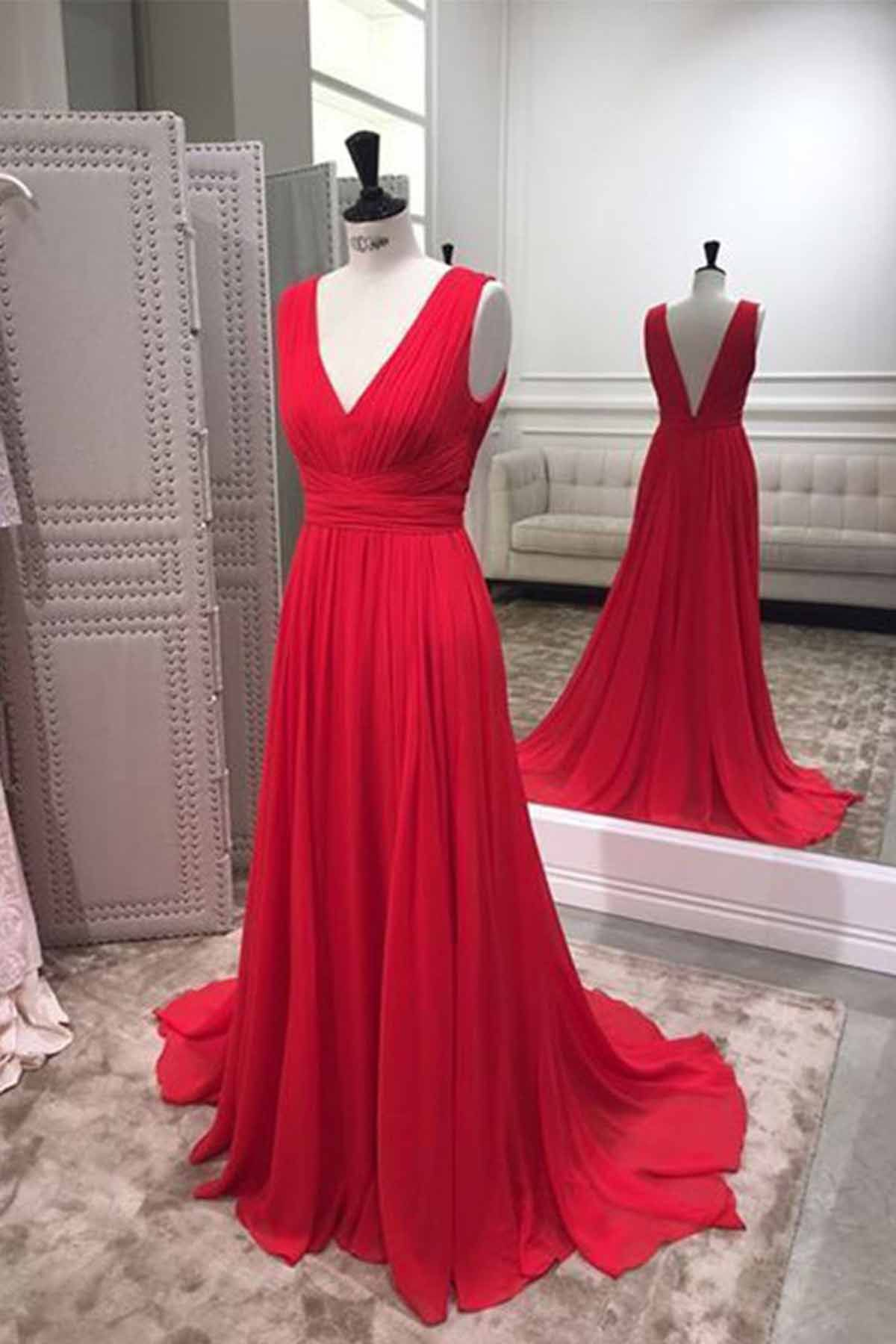 Simple red chiffon v neck long bridesmaid dress red prom dress from